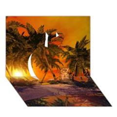 Wonderful Sunset In  A Fantasy World Apple 3d Greeting Card (7x5)  by FantasyWorld7