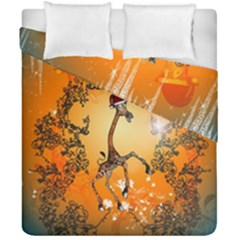 Funny, Cute Christmas Giraffe Duvet Cover (double Size) by FantasyWorld7