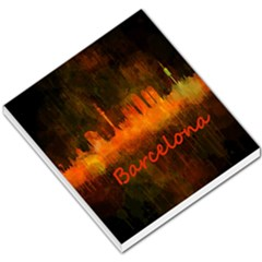 Barcelona City Dark Watercolor Skyline Small Memo Pads by hqphoto