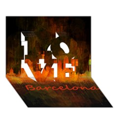 Barcelona City Dark Watercolor Skyline Love 3d Greeting Card (7x5)