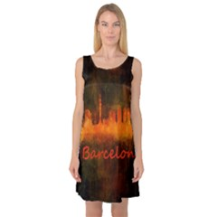 Barcelona City Dark Watercolor Skyline Sleeveless Satin Nightdresses by hqphoto