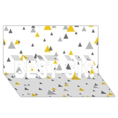 Pastel Random Triangles Modern Pattern Best Sis 3d Greeting Card (8x4)  by Dushan