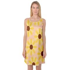 Sunflowers Everywhere Sleeveless Satin Nightdresses