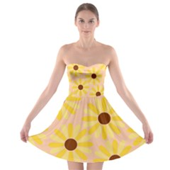 Sunflowers Everywhere Strapless Bra Top Dress