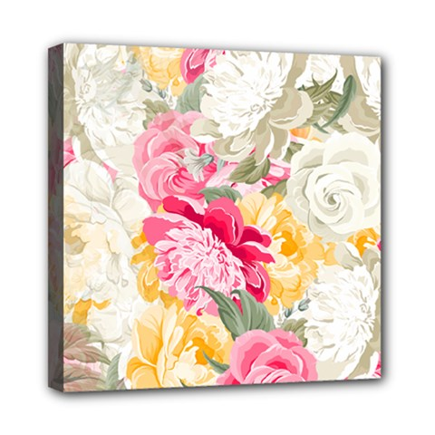 Colorful Floral Collage Mini Canvas 8  X 8  by Dushan