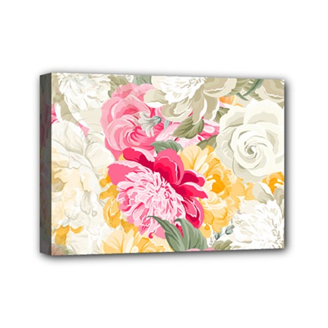 Colorful Floral Collage Mini Canvas 7  X 5  by Dushan