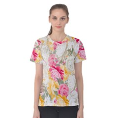 Colorful Floral Collage Women s Cotton Tees by Dushan