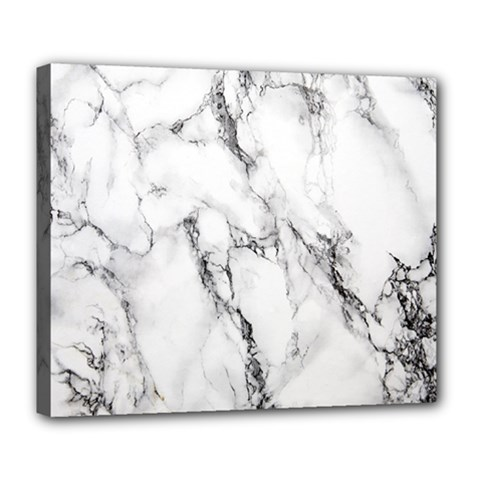 White Marble Stone Print Deluxe Canvas 24  X 20   by Dushan