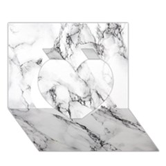 White Marble Stone Print Heart 3d Greeting Card (7x5)  by Dushan