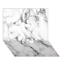 White Marble Stone Print Ribbon 3d Greeting Card (7x5)  by Dushan