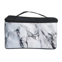 White Marble Stone Print Cosmetic Storage Cases by Dushan