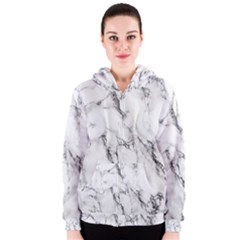 White Marble Stone Print Women s Zipper Hoodies by Dushan