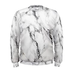 White Marble Stone Print Men s Sweatshirts by Dushan