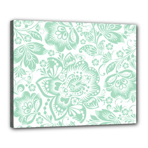 Mint Green And White Baroque Floral Pattern Canvas 20  X 16