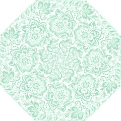 Mint Green And White Baroque Floral Pattern Folding Umbrellas by Dushan