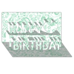 Mint Green And White Baroque Floral Pattern Happy Birthday 3d Greeting Card (8x4)  by Dushan