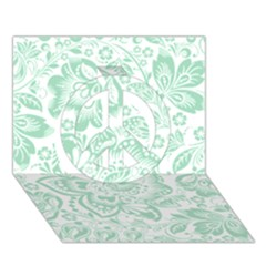 Mint Green And White Baroque Floral Pattern Peace Sign 3d Greeting Card (7x5)  by Dushan