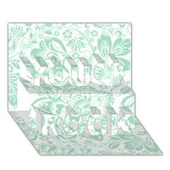 Mint Green And White Baroque Floral Pattern You Rock 3d Greeting Card (7x5)  by Dushan