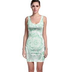 Mint Green And White Baroque Floral Pattern Bodycon Dresses by Dushan