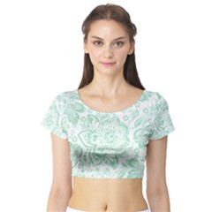 Mint Green And White Baroque Floral Pattern Short Sleeve Crop Top by Dushan