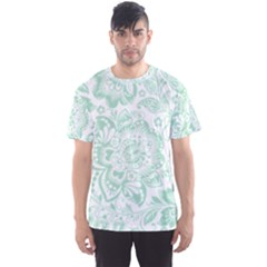Mint Green And White Baroque Floral Pattern Men s Sport Mesh Tees by Dushan