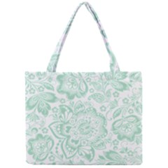 Mint Green And White Baroque Floral Pattern Tiny Tote Bags by Dushan