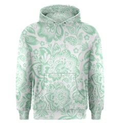 Mint Green And White Baroque Floral Pattern Men s Pullover Hoodies by Dushan