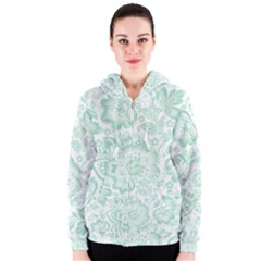 Mint Green And White Baroque Floral Pattern Women s Zipper Hoodies by Dushan