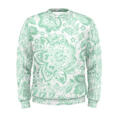 Mint Green And White Baroque Floral Pattern Men s Sweatshirts by Dushan