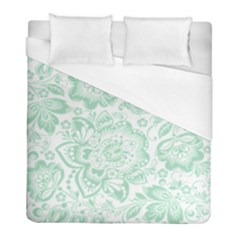 Mint Green And White Baroque Floral Pattern Duvet Cover Single Side (twin Size) by Dushan