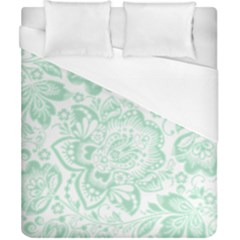 Mint Green And White Baroque Floral Pattern Duvet Cover Single Side (double Size) by Dushan