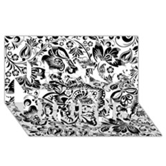 Black Floral Damasks Pattern Baroque Style Best Friends 3d Greeting Card (8x4)  by Dushan