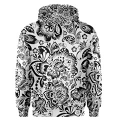 Black Floral Damasks Pattern Baroque Style Men s Pullover Hoodies by Dushan