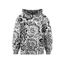 Black Floral Damasks Pattern Baroque Style Kid s Pullover Hoodies by Dushan