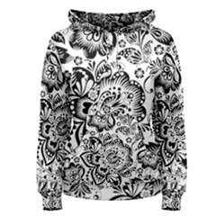 Black Floral Damasks Pattern Baroque Style Women s Pullover Hoodies by Dushan