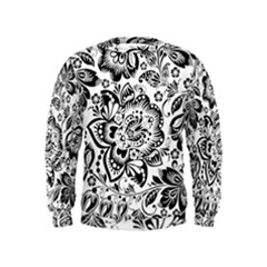 Black Floral Damasks Pattern Baroque Style Boys  Sweatshirts by Dushan