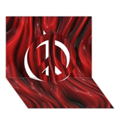 Shiny Silk Red Peace Sign 3d Greeting Card (7x5)  by MoreColorsinLife