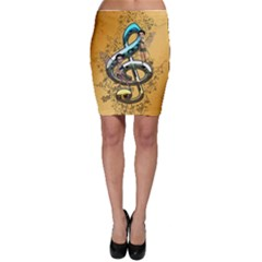 Music, Clef With Fairy And Floral Elements Bodycon Skirts by FantasyWorld7