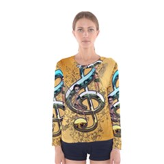 Music, Clef With Fairy And Floral Elements Women s Long Sleeve T Shirts by FantasyWorld7