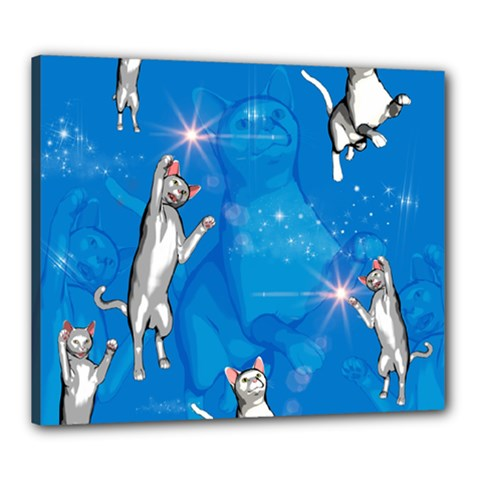 Funny, Cute Playing Cats With Stras Canvas 24  X 20  by FantasyWorld7