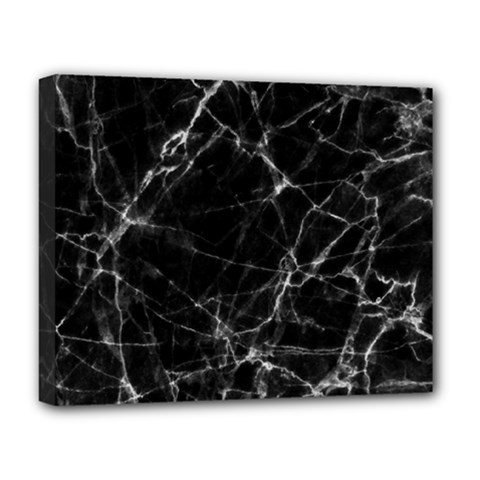 Black Marble Stone Pattern Deluxe Canvas 20  X 16   by Dushan