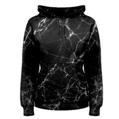 Black Marble Stone Pattern Women s Pullover Hoodies by Dushan