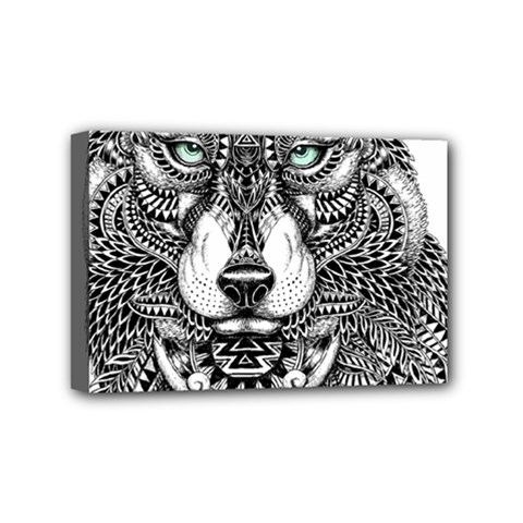 Intricate Elegant Wolf Head Illustration Mini Canvas 6  X 4  by Dushan