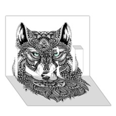 Intricate Elegant Wolf Head Illustration I Love You 3d Greeting Card (7x5)  by Dushan