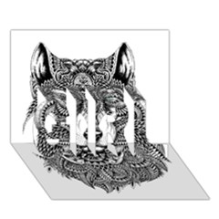 Intricate Elegant Wolf Head Illustration Girl 3d Greeting Card (7x5)  by Dushan