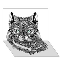 Intricate Elegant Wolf Head Illustration Heart Bottom 3d Greeting Card (7x5)  by Dushan