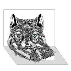 Intricate Elegant Wolf Head Illustration Love Bottom 3d Greeting Card (7x5)  by Dushan