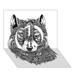 Intricate Elegant Wolf Head Illustration Peace Sign 3d Greeting Card (7x5)  by Dushan
