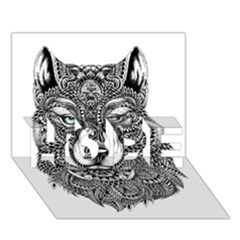 Intricate Elegant Wolf Head Illustration Hope 3d Greeting Card (7x5)  by Dushan