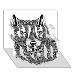 Intricate Elegant Wolf Head Illustration Thank You 3d Greeting Card (7x5)  by Dushan